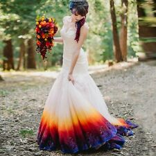 New Colorful Tulle Mermaid Wedding Dresses Formal Bridal Gowns Custom Size 2-16+