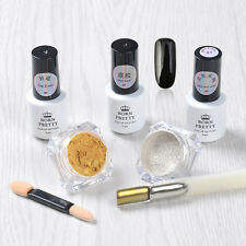 6pcs/set Nail Art Mirror Glitter Powder Dust Chrome Black UV Gel Polish W/Brush