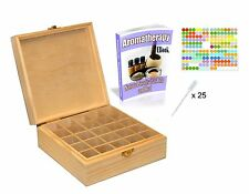 Essential Oil Wooden Storage Box Carrying Case Container Organizer - 25 Bottles