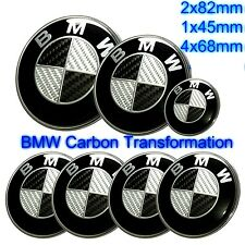 7pcs BMW Black Carbon Fibre Badge Emblem Set Wheel Centre 7x Caps e60 e61 e70 X5
