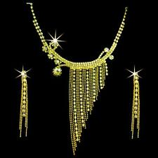 Bollywood Schmuckset Schmuck Ohrringe Kette Strass Gold Bauchtanz jewelry set