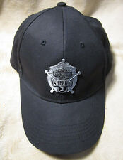 HARLEY DAVIDSON Men's Sheriff Metal Medallion Black Cotton Baseball Cap Hat