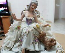 Antique Capodimonte San Marco Figurine Dame avec chien 19 éme