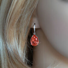 Bright Coral Swarovski Padparadscha Pear Crystal Dangle Earrings (Sparkle-2644)