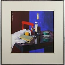 Modern Original Framed Acrylic Contemporary Wine Glass Fruit Still Life Painting