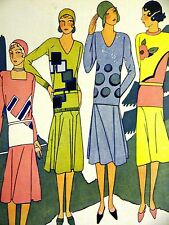 Femenil Art Deco SWEATERS & SKIRTS for SPORTS 1929 Spanish Fashion Ad Matted