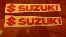"""#295 (2) 9"""" x 1.5"""" Suzuki Logo Motorcycle Car Decals Stickers Orange"""