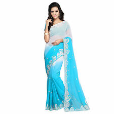 Karishma Designer's Bollywood Faux Chiffon Embroidered Saree With Blouse