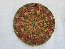 Antique Basket Woven Straw Grass Native American Dollhouse Rug Mat 5 in. round
