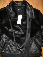NWT BEBE Black Faux Leather Pony Horse Hair Motorcycle Jacket Coat Small Petite
