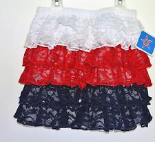 New! Girls USA Red White Blue Lace Tiered Ruffles Skirt Size 5T America