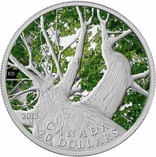 2013 Canadian $20 Maple Canopy Fine Silver Coloured Coin-Proof-.9999 Pure Silver