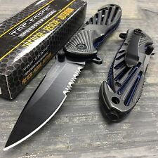 Tac Force Spring Assisted Open Grey High Carbon Tactical Rescue Pocket Knife
