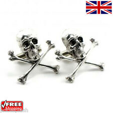 Cool Men's Women's Dress Halloween Skull & Crossbones Cufflinks Novelty Design