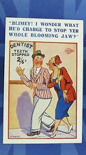 Vintage Comic Postcard 1930s Dentist Othodontist Teeth STOPPED JAW Theme