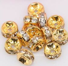 6mm 100pcs shiny golden clear crystal rhinestone rondelle finding spacer beads
