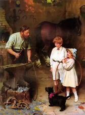 Oil painting Arthur John Elsley - as good as ever father with children & horse