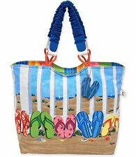 MOTHERS DAY SUN N SAND LARGE SCOOP CANVAS TOTE BEACH CRUISE RESORT BAG FLIP FLOP