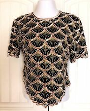 Holiday Blouse Gold Black Beaded Sequin Pearl Top Laurence Kazar XL RUNS SMALL