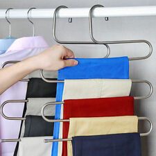 Pants Trousers Hanging Clothes Hanger Layers Clothing Storage Space Saver Neat