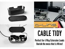 D-LineWire Tidy 4 Way Small Black Extension Cable Management System TV AV DVD