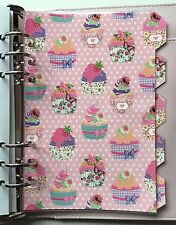 Filofax A5 Organiser Planner - Cupcake & Pink Spot Dividers - Fully Laminated