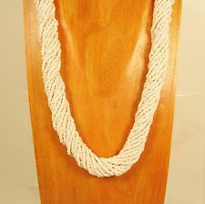 "18"" Twisted Rope Pearl Color Handmade Seed Bead Necklace FREE SHIPPING"