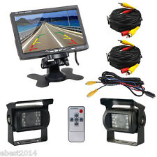 """Bus Truck RV 7"""" LCD Rear view Monitor+2 Wired Night Vision Reverse Backup Camera"""
