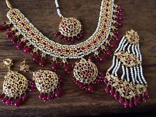 Indian wedding jewellery set, Gold Plated Necklace, Earrings Tika Jhumar Bridal