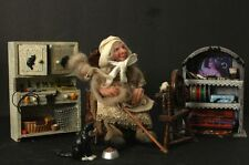 Witch Spinning Making Halloween Costumes OOAK Hand Sculpted Polymer Clay