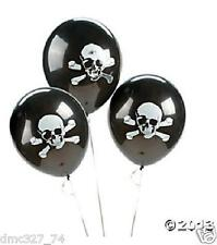 "48 PIRATE Halloween Party Decorations 11"" Latex BALLOONS BLACK SKULL CROSSBONES"