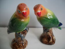 Beautiful Pair Of Love Birds Salt & Pepper Pots By Quail Pottey Boxed.