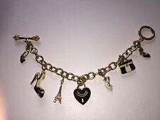 CHARM JUICY COUTURE Bracelet Paris Doré Heart gold chain plated Eiffel Tower