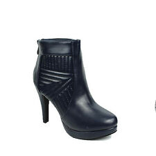 WOMENS LADIES PLATFORMQUILTED STILETTO HEEL ANKLE BOOTS SHOES SIZE 3-7