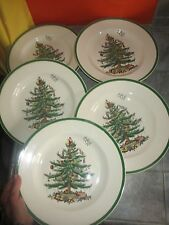 "Set of 5 SPODE ""CHRISTMAS TREE"" 10 3/4"" DINNER PLATES  England"