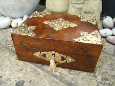 SUPERB 19C FIGURED BURR WALNUT INLAID ANTIQUE JEWELLERY BOX - FAB INTERIOR