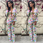 Summer Women's Sexy Bodycon V Neck Print Long Sleeve Playsuit Jumpsuit & Rompers