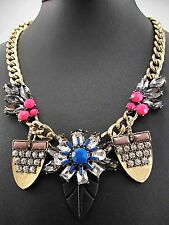 New woman  Pendant Crystal Bib Statement chunky Multi-color Wedding Necklace 454