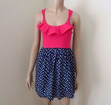 NWT Abercrombie Womens Sun Dress Size Medium Polka Dot Pink & Blue Ruffles
