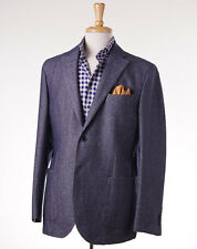 NWT $980 LUIGI BIANCHI Slate Blue Herringbone Cotton-Wool Sport Coat 42 R (Eu52)