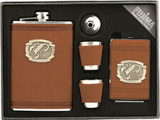 9oz Stainless Steel Liquor Flask, Cigarette Case, Funnel, 2 Shot Cup Gift Set