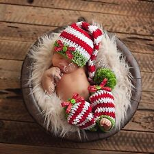 Newborn Baby Girl Boy Crochet Knit Beanie Costume Photo Prop Xmas Santa Outfit