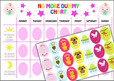 Girls No Dummy Chart, Child's Weaning Training A4 Reward chart and stickers