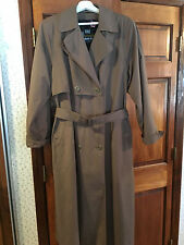 Vintage LONDON FOG Trench RainCoat Sz (womens) 14R dark Khaki, zipout lining