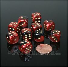 NEW 10 Black Red Gemini 12mm Rounded Edge Dice Set D&D RPG Game D6 Chessex