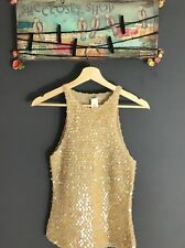 Vivienne Tam Tank Top Crochet Sleeveless Knit Top With Sparkles Size 2