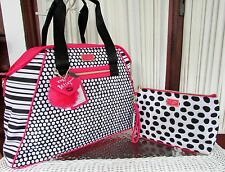 Betsey Johnson Dome Weekender Stripes Dots Fushia Travel & XL Cosmetic Bag NWT