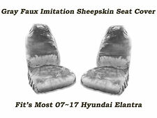 Gray Faux Sheepskin Seat Cover Pair  Soft Plush wool,Fit's 07~17 Hyundai Elantra
