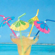 20 Paper Umbrella Plastic Drinking Straw Cocktail Beach Party Fruit Straw Supply
