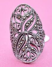 LONG PRETTY FILIGREE RING WITH MARCASITE STONES Genuine Sterling Silver Size 9